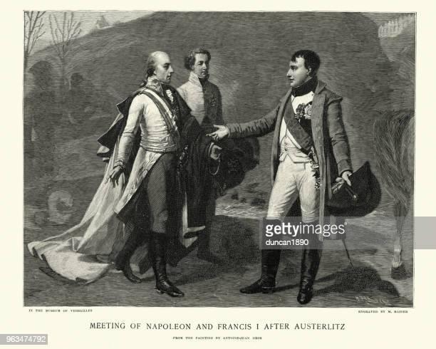 illustrations, cliparts, dessins animés et icônes de réunion de napoléon bonaparte et l'empereur françois, après austerlitz - guerres napoléoniennes