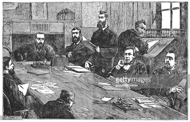 meeting of the irish national land league in dublin, ireland - conference table stock illustrations, clip art, cartoons, & icons