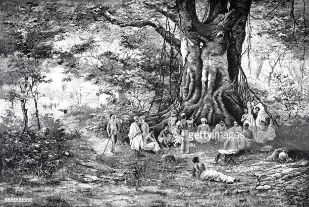 meeting point for gossip under a huge tree in west africa, german colony - west africa stock illustrations, clip art, cartoons, & icons