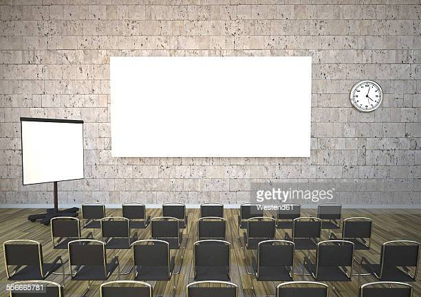 Meeting room with chairs, flipchart and projection screen, 3D Rendering