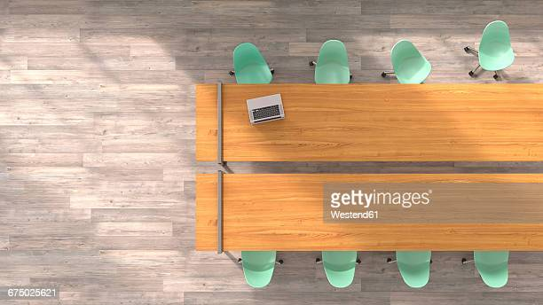 Meeting table with laptop, 3D Rendering