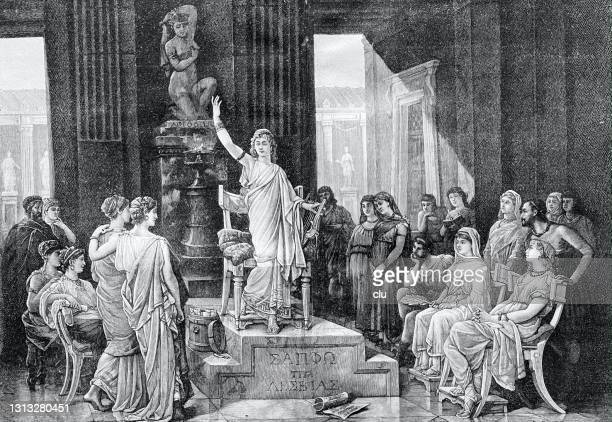 meeting with sappho, ancient greek poet - philosophy stock illustrations