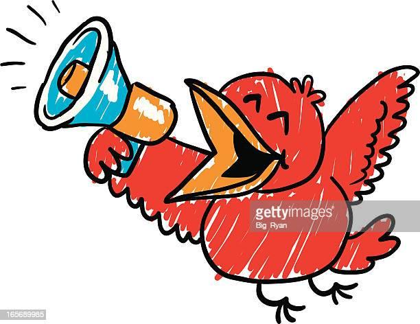 megaphone bird - mockingbird stock illustrations, clip art, cartoons, & icons