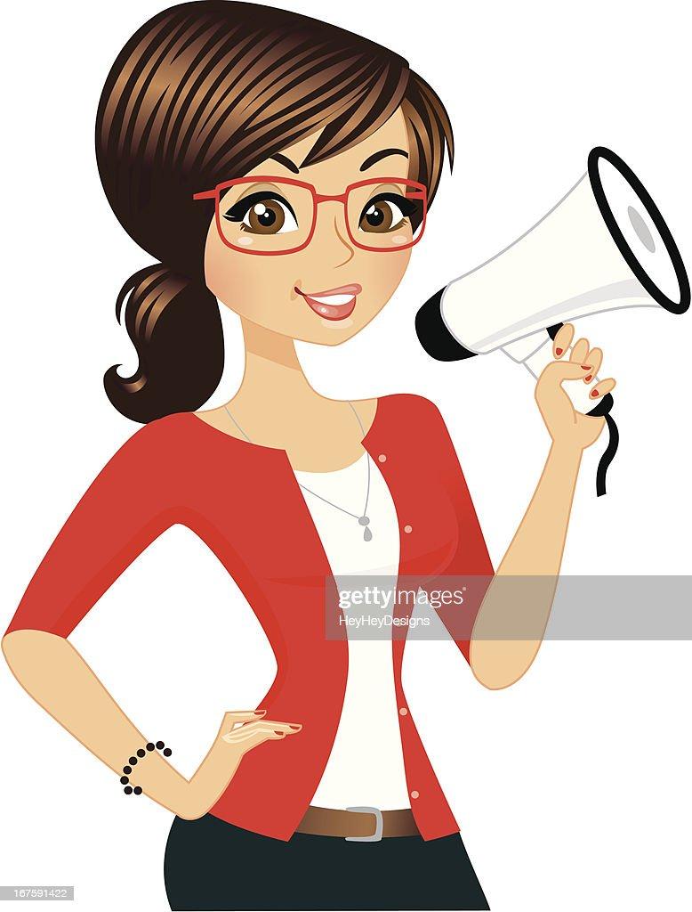 Megaphone Girl : stock illustration