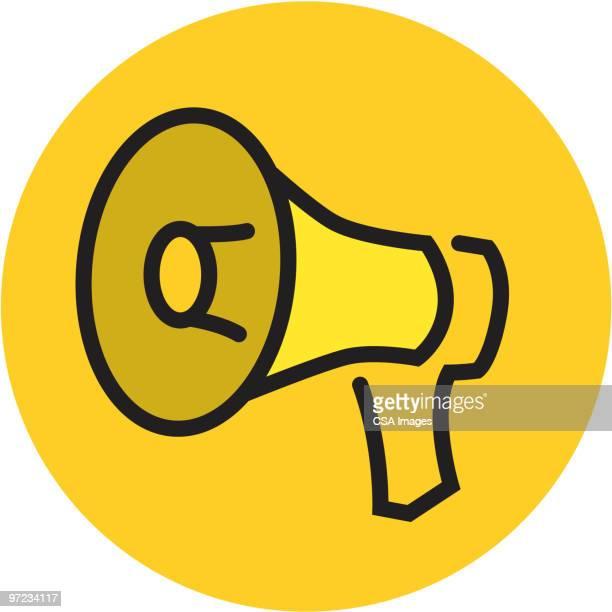 illustrazioni stock, clip art, cartoni animati e icone di tendenza di megaphone - megafono