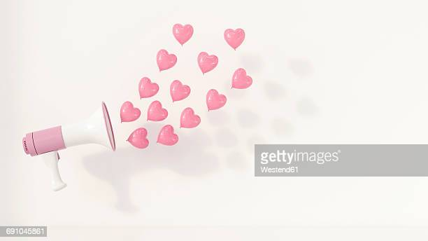 illustrations, cliparts, dessins animés et icônes de megaphone with pink heart-shaped balloons as sound waves, 3d rendering - ballon de baudruche