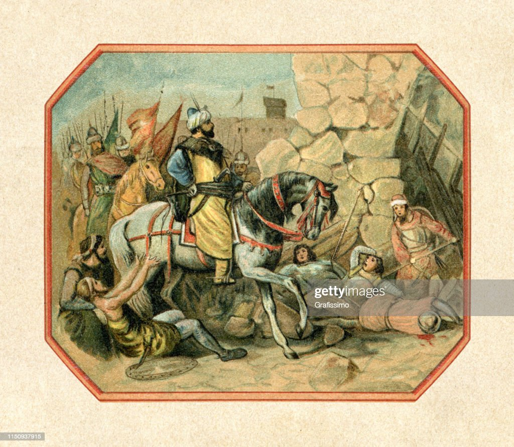 Mehmed II. der Eroberer in Konstantinopel 1453 : Stock-Illustration
