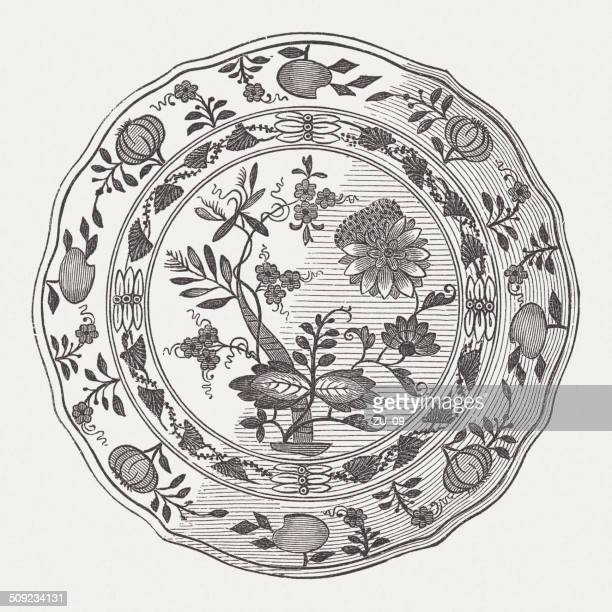 Meissen hard-porcelain plate with the so-called onion pattern, published 1877