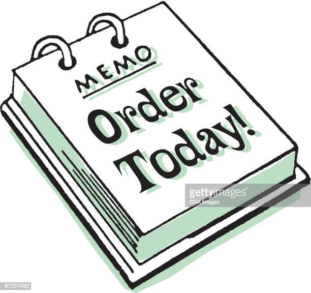 memo pad: order today! - report stock illustrations