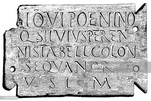 memorial plaque of imperial officer ,roman inscription from vesontio - marble rock stock illustrations, clip art, cartoons, & icons
