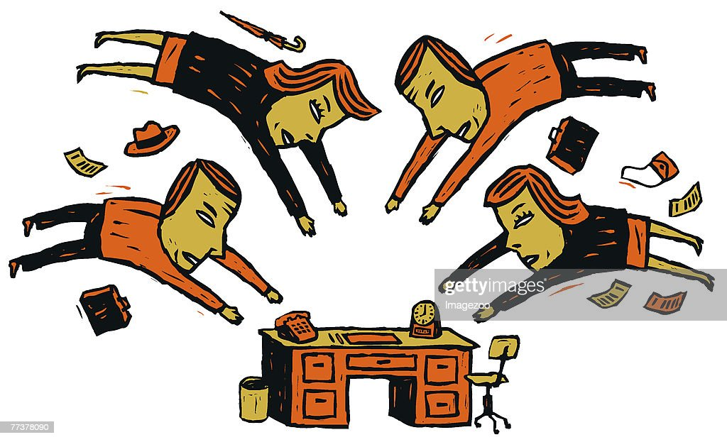 men and women at the office : stock illustration