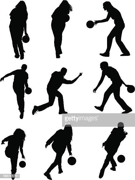 men and women bowling like the pros - bowling stock illustrations, clip art, cartoons, & icons