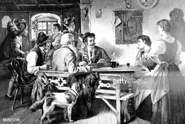 men and women chat at the regulars' table in a restaurant - dog eating stock illustrations, clip art, cartoons, & icons