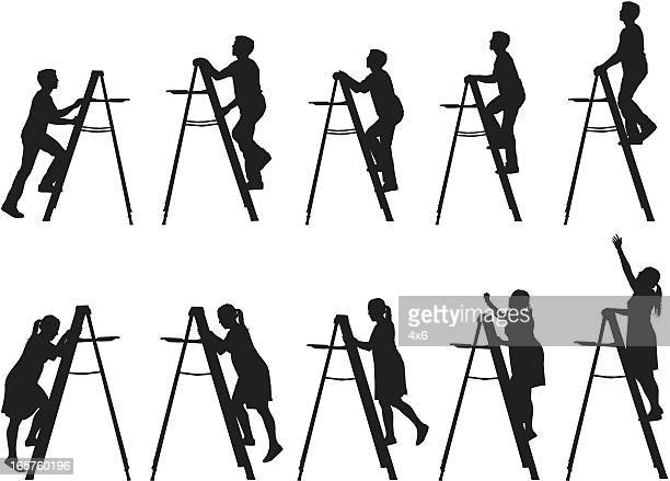 men and women climbing up ladders - ladder stock illustrations, clip art, cartoons, & icons