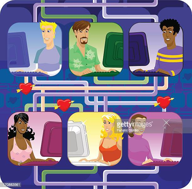 men and women dating online - bisexuality stock illustrations, clip art, cartoons, & icons