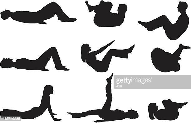 men and women doing yoga - abdominal muscle stock illustrations, clip art, cartoons, & icons
