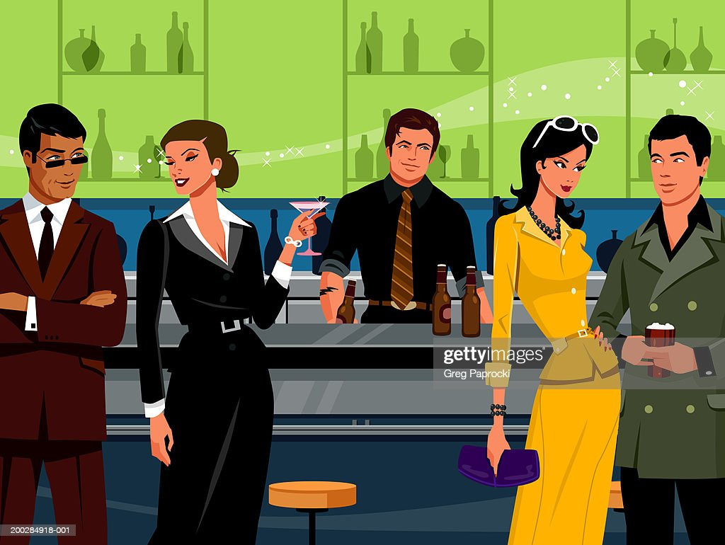Men and women drinking beer and cocktails at bar counter : stock illustration