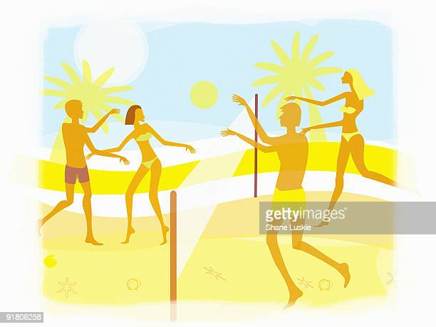 ilustraciones, imágenes clip art, dibujos animados e iconos de stock de men and women playing beach volleyball - vóleibol de playa