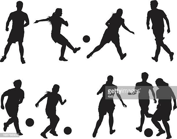 Men and women playing soccer