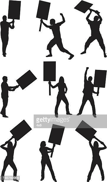 men and women protesting with picket signs - political rally stock illustrations, clip art, cartoons, & icons