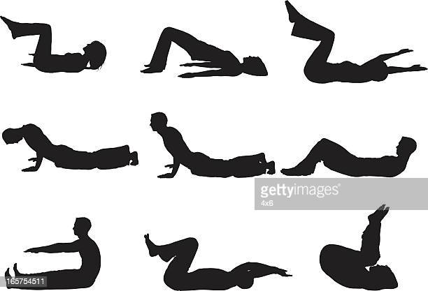 men and women yoga stretching sit ups - touching toes stock illustrations, clip art, cartoons, & icons