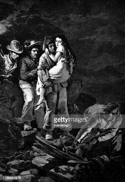 ilustrações, clipart, desenhos animados e ícones de os homens estão ajudando uma menina desaparecida sair da montanha - 1887