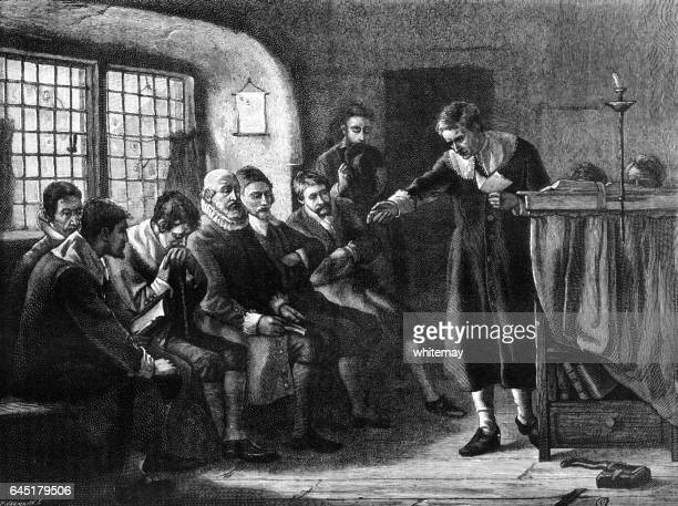 men at a puritan prayer meeting - protestantism stock illustrations