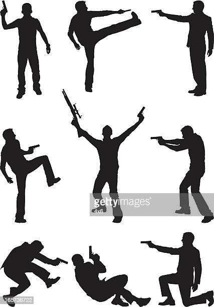 Men attacking with firearms