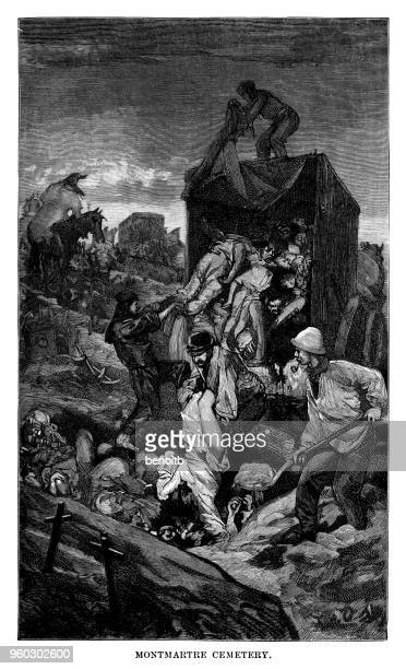 men burying dead people at the cemetery cemetery - mass grave stock illustrations