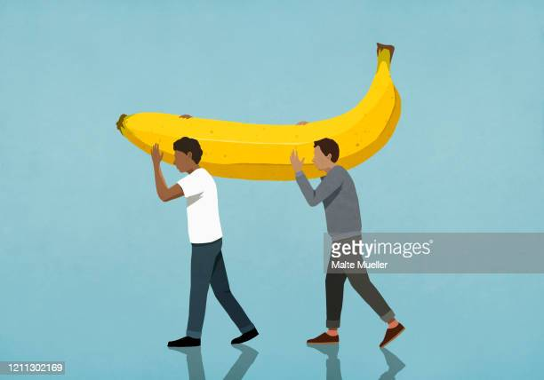 men carrying large banana - food and drink stock illustrations