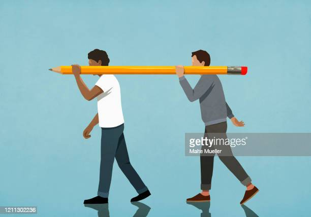 men carrying large pencil - illustration stock illustrations