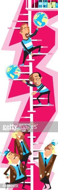 ilustrações de stock, clip art, desenhos animados e ícones de men climbing a winding staircase,  with businessmen standing at the bottom - buchinho