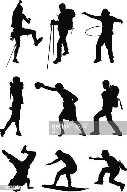 Men doing different sports
