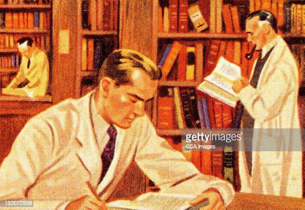 men doing research in library - professor stock illustrations, clip art, cartoons, & icons