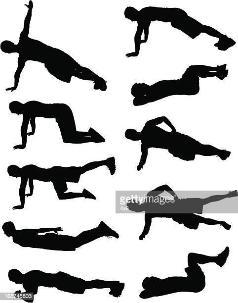 ilustrações, clipart, desenhos animados e ícones de homens dando vários exercícios ab - engatinhando