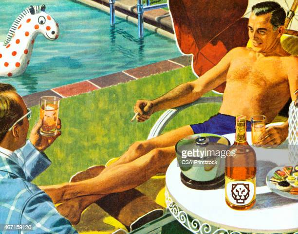 men drinking by the swimming pool - leisure activity stock illustrations, clip art, cartoons, & icons