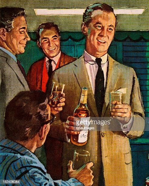 men drinking - whiskey stock illustrations
