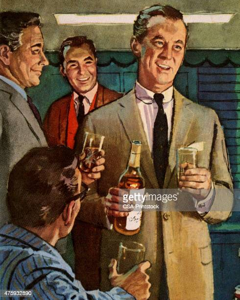 men drinking - scotch whiskey stock illustrations, clip art, cartoons, & icons