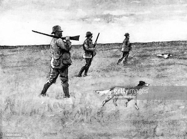 ノースダコタ州の男性アヒル狩り- 19世紀 - 水鳥点のイラスト素材/クリップアート素材/マンガ素材/アイコン素材