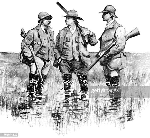 illustrations, cliparts, dessins animés et icônes de chasse au canard d'hommes dans le dakota du nord, etats-unis - 19ème siècle - chasseur