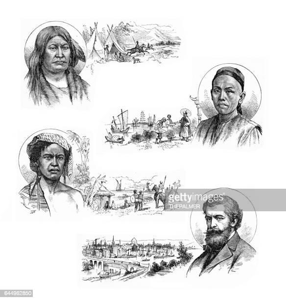men ethnicities engraving 1883 - ethiopia stock illustrations, clip art, cartoons, & icons