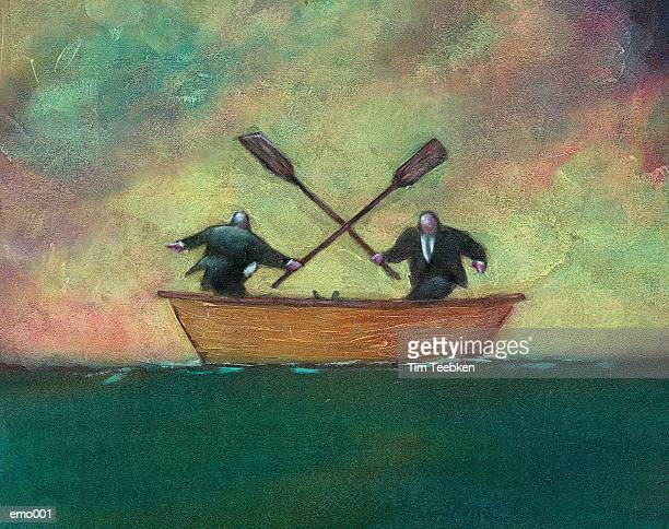 Men Fighting in Rowboat