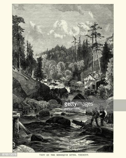 Men fishing on the Missisquoi River, Vermont, 19th Century