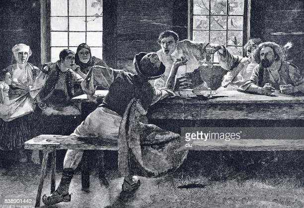 Men having dispute in a restaurant, women sitting aside