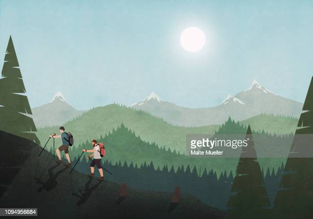 men hiking along idyllic mountain and forest landscape - horizontal stock illustrations