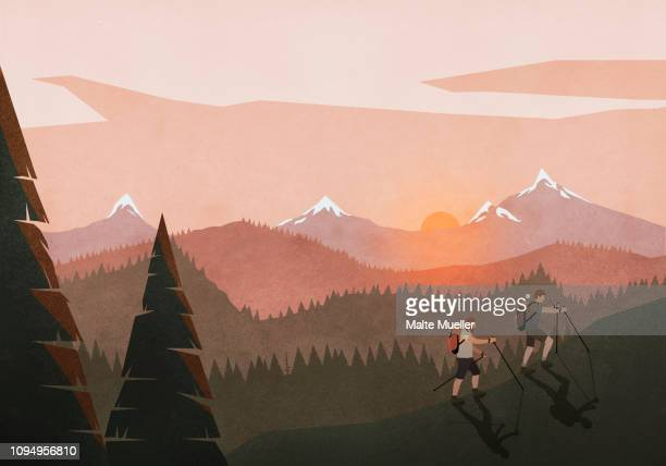 men hiking along idyllic, tranquil sunset mountain and forest landscape - silence stock illustrations