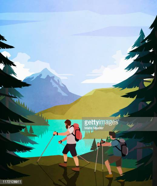 men hiking along scenic lakeside - image technique stock illustrations