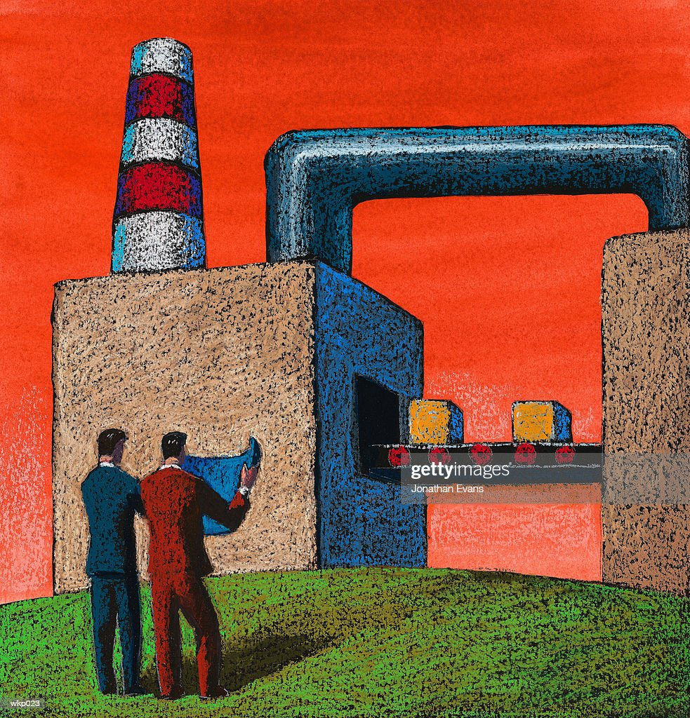 Men in Front of Factory : Stock Illustration