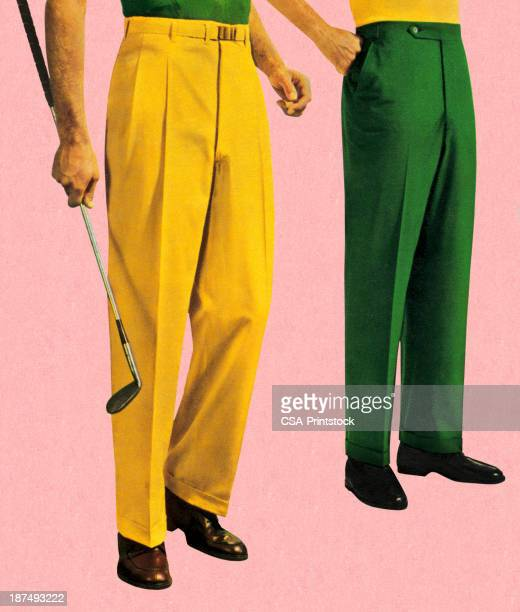 men in green and gold slacks - green golf course stock illustrations