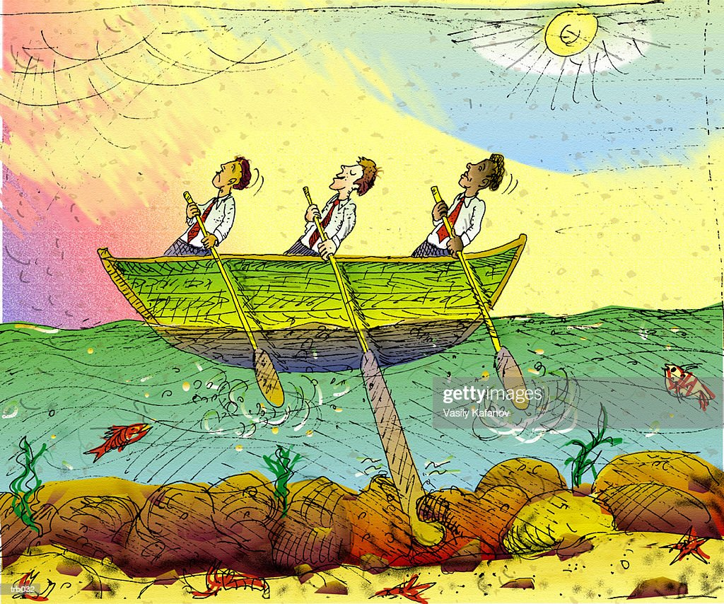 Men in Row Boat : Stockillustraties